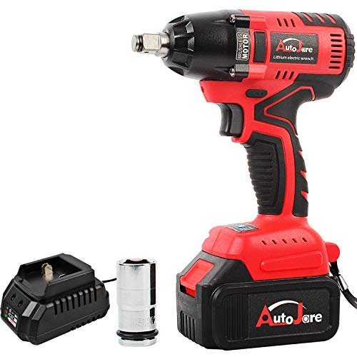 """Cordless Impact Wrench with 1/2"""" Chuck, Max Torque 405 ft.lbs (550N.m), Powerful Brushless Motor, 3.0A Li-ion Battery with Fast Charger, Carrying Case & 1pc 22mm Socket, Autojare B1803"""