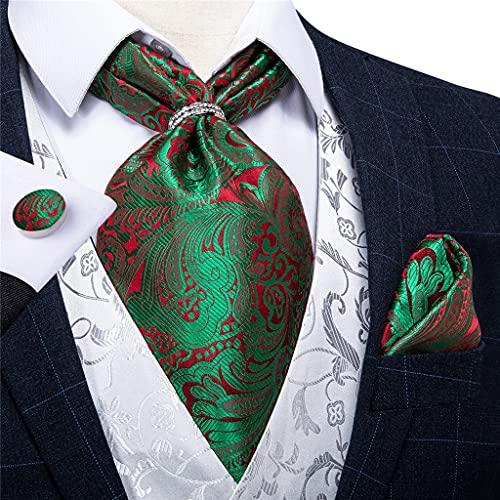 SKREOJF Corbata para Hombre con Anillo de Plata de Oro Vintage Vintage Floral Jacquard Silk Necktie Cravat Conjunto de pañuelos (Color : Silver Ring, Size : One Size)