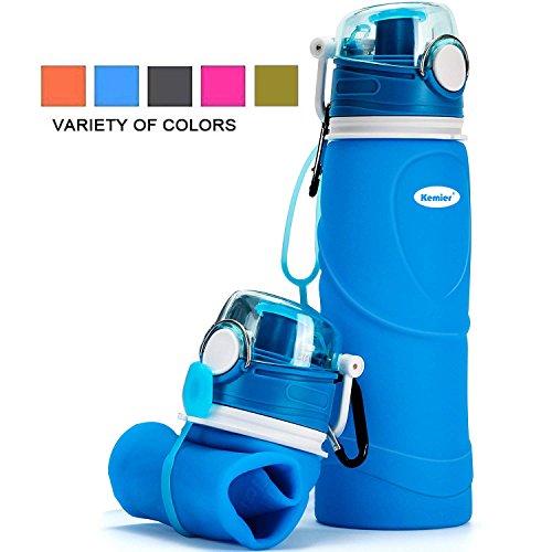 Kemier Bottiglia d'Acqua di Silicone Pieghevole,750ml,Medical Grade,Senza BPA,Approvato dalla FDA.Arrotolabile,a Prova di Perdite,Pieghevole,a Prova di Perdite,Sport e Uscite all'Aperto (Blu)