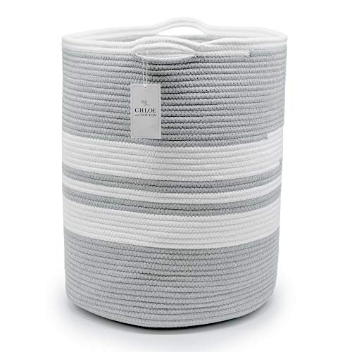 Chloe and Cotton Extra Large Tall Woven Rope Storage Basket 19 x 16 inch Gray White Handles  Decorative Laundry Clothes Hamper Blanket Towel Baby Nursery Diaper Toy Bin Cute Collapsible Organizer