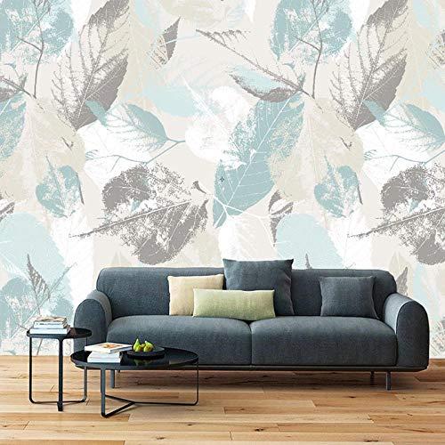 Fototapete 350x256 cm - 7 Streifen Blaugraue Blätter 3D Vlies Wand Tapete Wohnzimmer Schlafzimmer Büro Flur Dekoration Wandbilder XXL Moderne Wanddeko