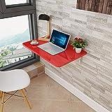 XYSoeMY Mesa Plegable, Mesa de Comedor Multifuncional Plegable de Pared/Mesa de computadora/Estante, Pintura de Piano roja + Soporte Doble de Hierro (tamaño: 50x30cm)