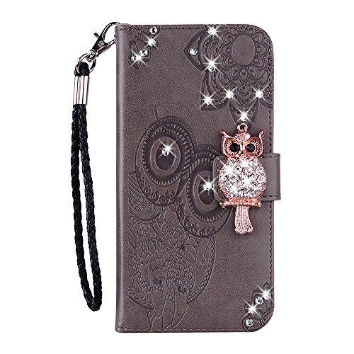 JZ [Coruja de diamante] Capa flip compatível com capa carteira Samsung J5 Pro com [alça de pulso] - Cinza