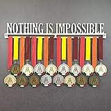 Nothing IS Impossible - Colgador de medallas Deportivas - Medallero de Pared - Sport Medal Hanger - Display Rack (750 mm x 105 mm x 3 mm)