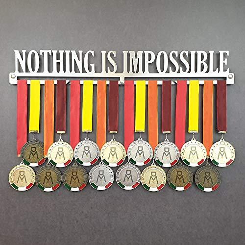 Nothing IS Impossible - Medagliere da Parete - Porta medaglie Motivazionale - Sport Medal Hanger - Display Rack (600 mm x 90 mm x 3 mm)