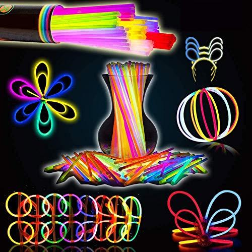 BESTZY 100pcs Palo de Luz Partido Pulseras Luminosas,Glowsticks,fluos Luminoso.Pulseras Fluorescentes Luminoso,7 Colores Diferentes,con Conector.Colores Tendance,Ideal para el Fiesta.