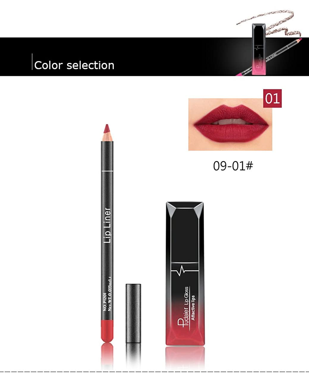 建設勝者少年(01) Pudaier 1pc Matte Liquid Lipstick Cosmetic Lip Kit+ 1 Pc Nude Lip Liner Pencil MakeUp Set Waterproof Long Lasting Lipstick Gfit