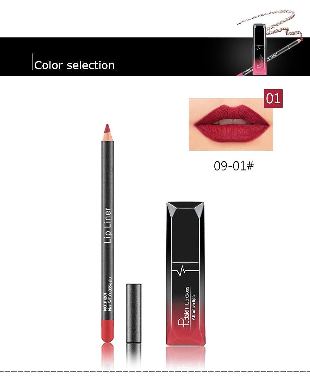 シビック強制失望させる(01) Pudaier 1pc Matte Liquid Lipstick Cosmetic Lip Kit+ 1 Pc Nude Lip Liner Pencil MakeUp Set Waterproof Long Lasting Lipstick Gfit