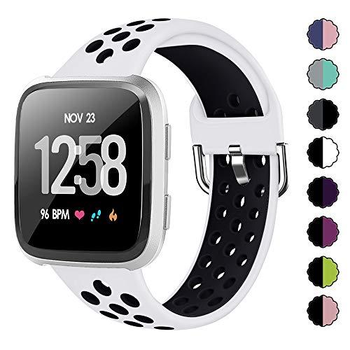 XIMU Kompatibel mit Fitbit Versa Armband & Versa Lite Armband, Silikon Verstellbarer Gurt Sportgurt Armband Ersatzzubehör Kompatibel Damen Herren (Weiß schwarz, L)