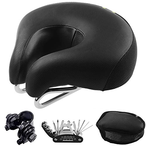 Bike Seat Universal Fit Bicycle Seat Armless Bicycle Saddle Cushion Most Comfortable Memory Foam Dual Shock Absorbing Thickened Super Soft Noseless Bike Saddle Seat Clamp,Repair Tool Kit,Seat Cover