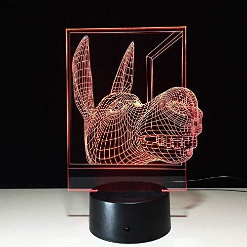 Esel 3D-ledlamp, USB-lednachtlampje, batterij, ledverlichting, 7 kleuren, wisselende prestaties voor vrienden, kinderen, beste cadeau, wooncultuur