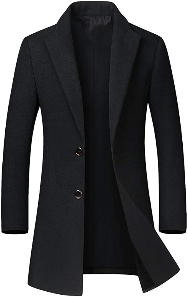 YAYUMI Men'sTrench Coat Long Wool Blend Slim Fit JacketLong Sleeve Pea Coat Lapel Open Front Long Jacket Overcoat Black