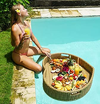 Floating Serving Trays Table Bar XLGE Heart - Swimming Pool Floats for Adults for Sandbars Spas Bath and Pool Parties | Floating Tray for Pools Serving Drinks Brunch Food on The Water.