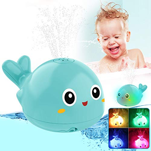 OFOCASE Spray Whale Baby Bath Toys, Whale Induction Spray Water Toy with LED Colorful Light Automatic Induction Sprinkler Bath Toy Bathtub Toys for Toddlers, Bathtime Gift for Kids & Infants (Blue)