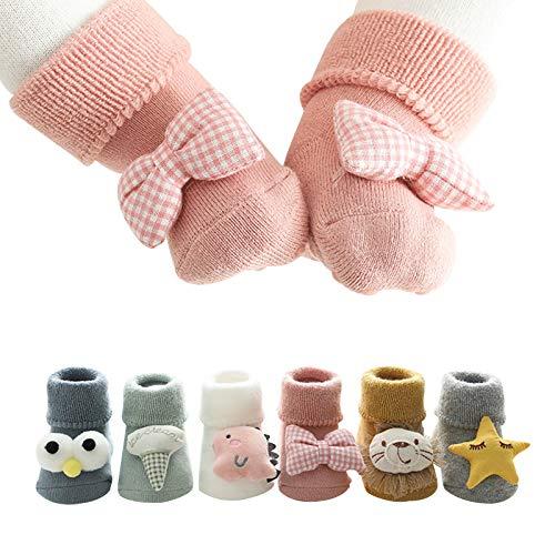 Barakara Socken für Baby, 6 Paare Baumwolle Dicke Cartoon Weich rutschfest Winter Socken für 0-3 Jahre alt Kinder