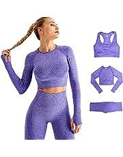 DONYKARRY Dames 3 stks Naadloze Outfits Workout Sets, Gym Running Yoga Sportkleding 3 Stuks Trainingspak Leggings en Stretch Sport BH Gym Jumpsuit Kleding Set Moeders Geschenken