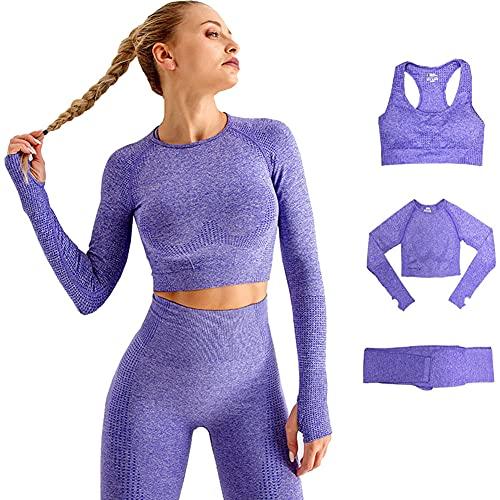 Conjunto Yoga 3 Piezas Ropa Fitness , Pantalones De Yoga Súper Elásticos Sin Costuras+Bralette...