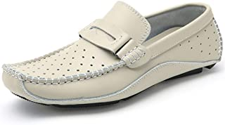 Cosplay-X Men's Casual Genuine Leather Loafer Shoes Breathable Hole Slip On Driver Boat Moccasins