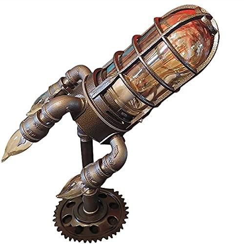 GHqY Lámpara Steampunk Rocket, Luces De Mesa Led Retro para Dormitorio Lámpara Cohete con 4 Bombillas Lámpara Cohete Industrial Steampunk Rocket Light Decoración De Habitaciones
