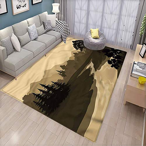 River Household Floor mat Silhouette of The Mountains Interesting Floor mat