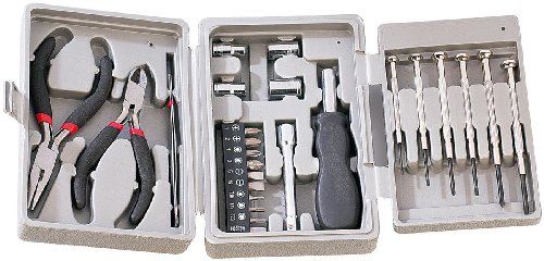 AGT Mini Werkzeug Set: 26-teiliges Werkzeug-Set in praktischer Klapp-Box (Werkzeugset klein)