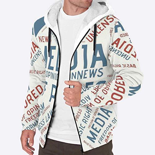 EUNNT Herren Kapuzenpullover mit Reißverschluss, dicke Wolle, warmes Wintermuster XL weiß
