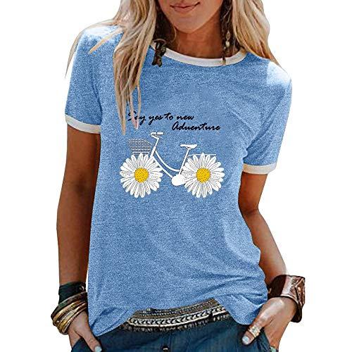 Summer Daisy Print Stitching Lose Lässige Rundhalsausschnitt Kurzarm Baumwolle T-Shirt Frauen