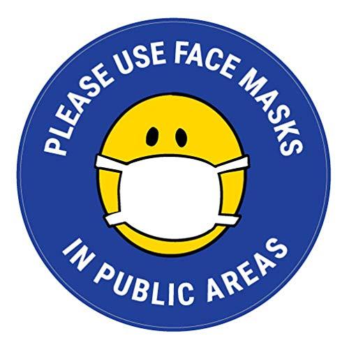 Decalcomania di sicurezza Vinly Decalcomania Si prega di utilizzare maschere per il viso in aree pubbliche con maschera facciale Emoji - Blu - Insegna per pavimento 12x12 pollici Prevenire Covid 19