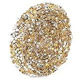 Ajuste de la cadena del Rhinestone de la malla de 5 yardas, rollo del abrigo del acoplamiento del acoplamiento del cristal artificial de DIY para el vestido de boda Laptop Headwear(Crystal Yellow)
