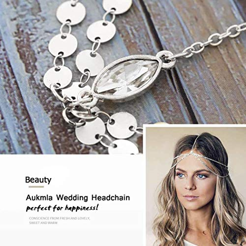 Aukmla Silver Headdress Boho Headchain Double Layer Sequin Head Chain with Crystal Dainty Hair Jewelry Accessory for Women and Girls 6
