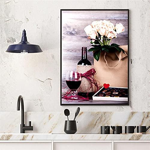 ZLARGEW Cartel de Cocina Moderno Vino Tinto y Botella Bebida Pintura en Lienzo Impresión de Arte de Pared Imagen Refectorio Restaurante Decoración para el hogar Imágenes / 50x70cm Sin Marco