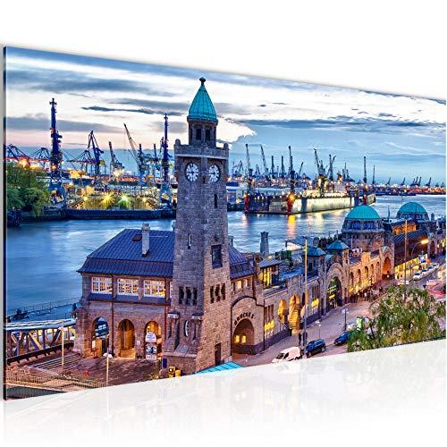 Wandbilder Hamburg Modern Vlies Leinwand Wohnzimmer Flur Stadt Hafen Blau 603012a