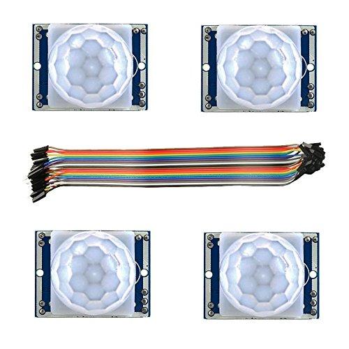 LDTR - Módulo Detector de Sensor de Movimiento PIR WG0071 4PCS - Compatible con Arduino/infrarrojo piroeléctrico Captor