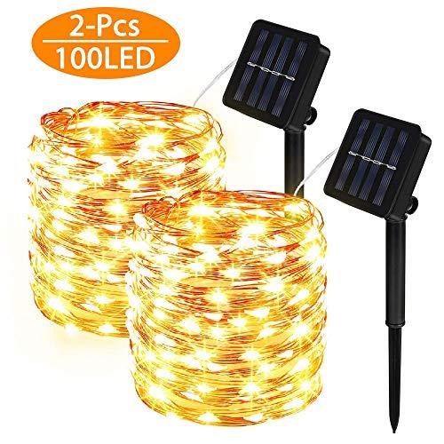 Molbory Cadena Luces Solares, 2 Pack IP65 Impermeable Cadena de Luces 10M 100 LED, 8 Modos Guirnaldas Luces Solar con Alambre de Cobre para Hogar, Jardin, Exterior, Boda, Decoracion - Blanco Cálido