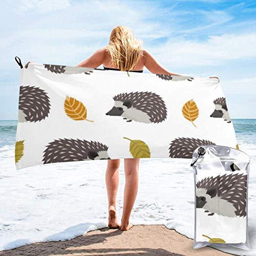 Toalla de Playa 27.5 'X 55',Hedgehog Ultra Soft Sand Microfibra Portátil Absorbente de Agua Multifibra sin Arena Toalla de Playa Manta