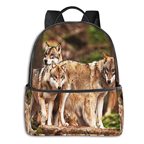 Zaino Uomo Donna, Animal Pack Grey Wolf Grey Casual Zaino Scuola Unisex Zaino Università Zaini Viaggio Daypack per Laptop 15,6 Pollici