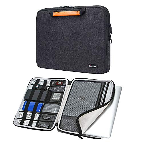 iCozzier 13-13.3 Pollici Borsa Maniglia Accessori elettronici Tracolla per Laptop Custodia Protettiva per 13'MacBook Air/MacBook PRO/PRO Retina Sleeve-Black
