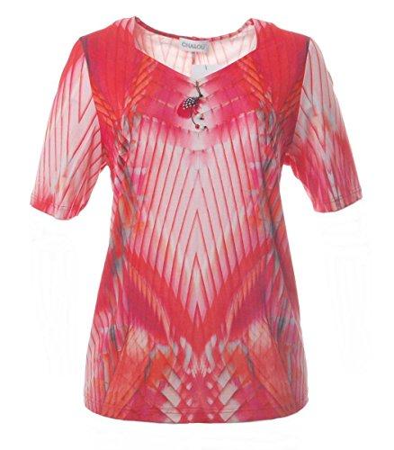 Chalou Sommer Kurzarm T-Shirt für Damen in großen Größen Orange Mode, Größe:54