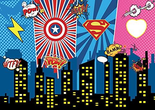 Fondo de héroes Fondo de Dibujos Animados Fondo de Fiesta de cumpleaños de niño Fondo de fotografía Decoraciones de Fiesta A9 10x10ft / 3x3m