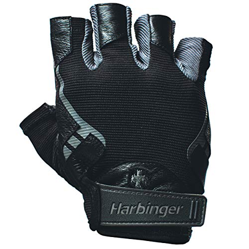 Harbinger Pro Non-Wristwrap Workout Weightlifting Gloves with Vented Cushioned Leather Palm (Pair) Black XXL