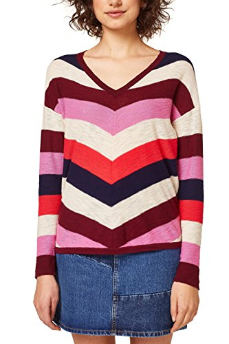 edc by ESPRIT Damen 028CC1I006 Pullover, Rot (Bordeaux Red 600), Small
