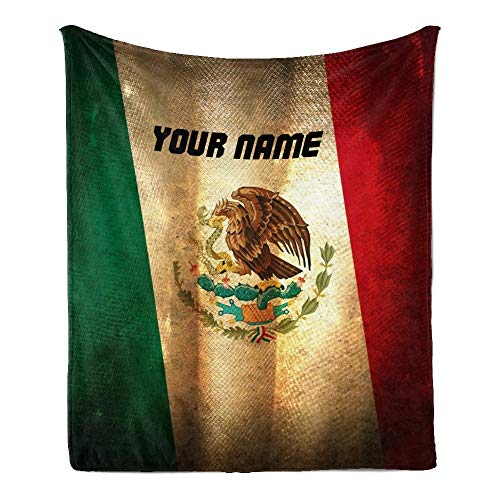 CUXWEOT Custom Blanket with Name Text,Personalized Mexico Flag Super Soft Fleece Throw Blanket for Couch Sofa Bed (50 X 60 inches)