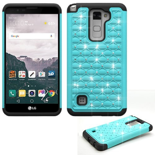 Phone Case for Straight Talk LG Stylo 2 4g LTE GSM/CDMA/ LG Stylo-2-V (Verizon) Crystal-Dual-Layered Rugged Cover (Crystal-Teal with Black)