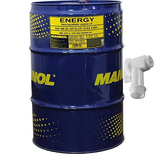 60L MANNOL Energie Motoröl 5W-30 API SL 502.00 505.00 MB229.3 inkl. Auslaufhahn SAE SL/CF ACEA A3/B4 MB 229.3 502.00/505.00