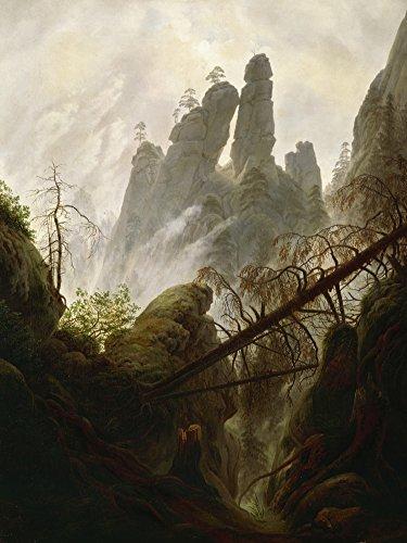 Artland Alte Meister Premium Wandbild Caspar David Friedrich Bilder Poster 80 x 60 cm Felsenschlucht 1822/23 Kunstdruck Wandposter Romantik B4CB