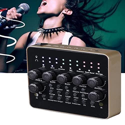V10 Mezclador de grabación de teléfono móvil ajustable Tarjeta de sonido Puerto USB Transmisión en vivo Cambiador de voz (negro)