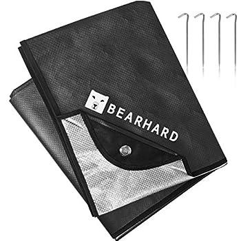 Bearhard 3.0 Couverture de survie thermique 150 x 210 cm, étanche, ultra légère, réutilisable, isolation thermique pliable pour les premiers secours en plein air, pique-nique, camping, randonnée