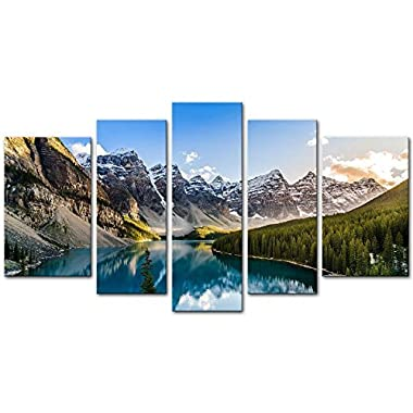 5 Pieces Modern Canvas Painting Wall Art The Picture For Home Decoration Moraine Lake And Mountain Range Sunset Canadian Rocky Mountains Landscape Print On Canvas Giclee Artwork For Wall Decor