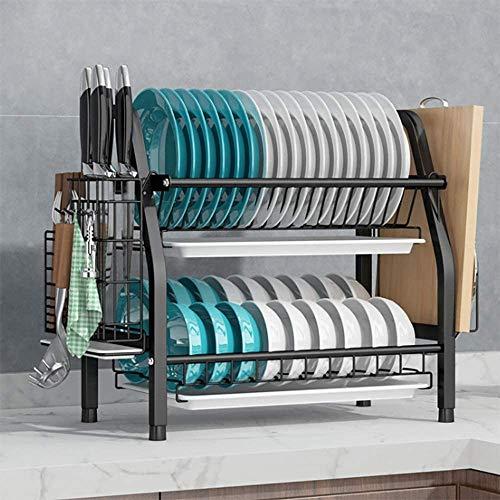 COVAODQ Escurreplatos de 2 pisos, con soporte para utensilios, soporte para tablas de cortar y escurridor para la encimera de la cocina (negro)