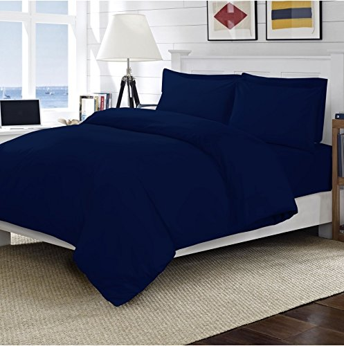 Linens World 200 Thread Count 100% Egyptian Cotton Duvet Quilt Cover Bedding Sets with Pillow cases (Navy, Double)